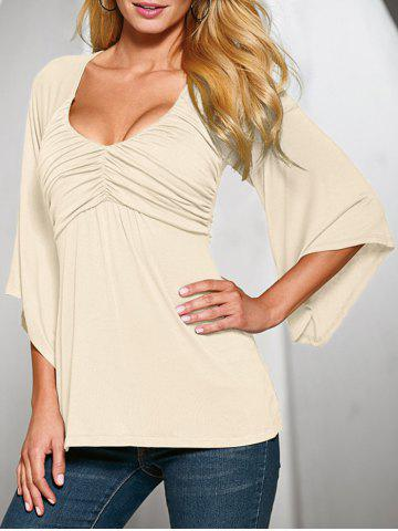 Plunge Ruched Flare Sleeve Tee