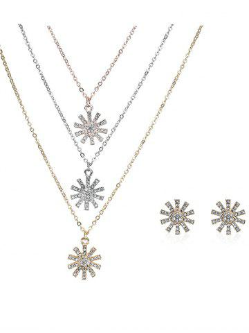 Rhinestoned Sun Layered Collier et boucles d'oreilles Multicolore