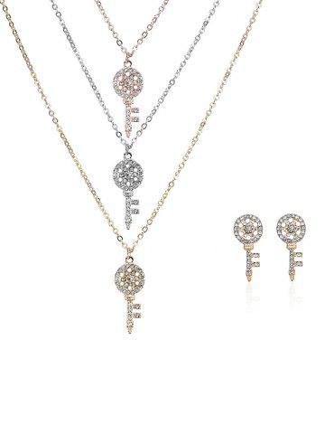 Rhinestoned Key Layered Collier et boucles d'oreilles