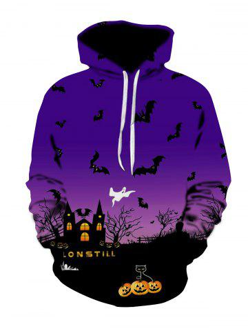 Halloween Night Scene Print Plus Size Hoodie