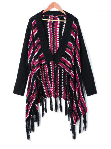 Long Sleeve Asymmetric Tassel Cardigan