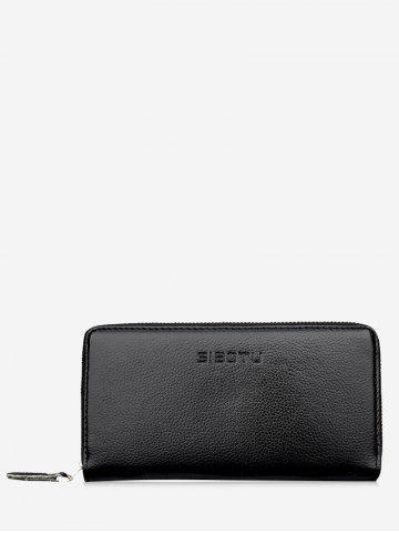 Outfits Zip Faux Leather Clutch Wallet BLACK