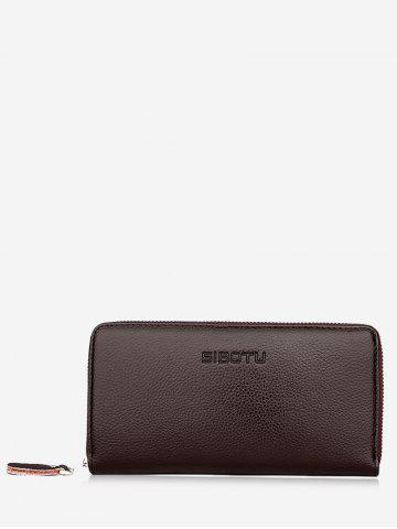 Fancy Zip Faux Leather Clutch Wallet - BROWN  Mobile