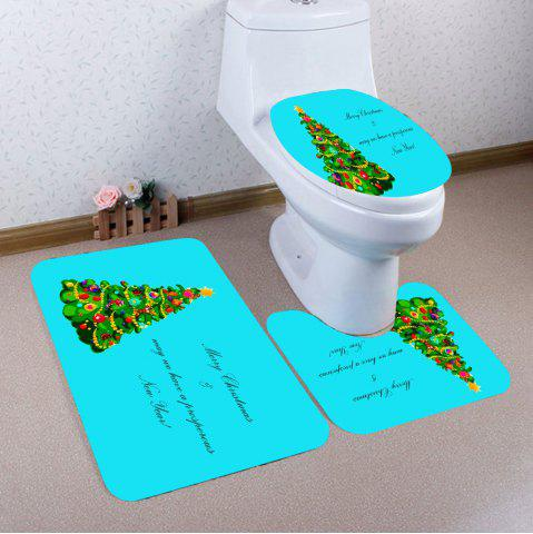 Discount 3Pcs Christmas Tree Pattern Bath Toilet Mats Set - LAKE BLUE  Mobile