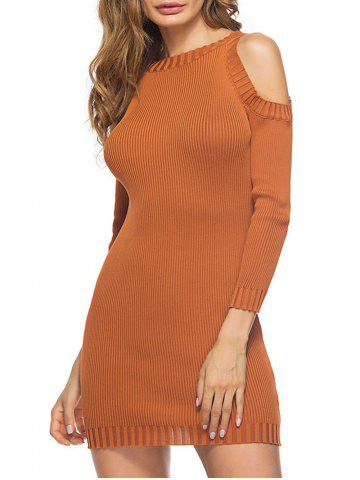 Shop Cold Shoulder Mini Knit Bodycon Dress