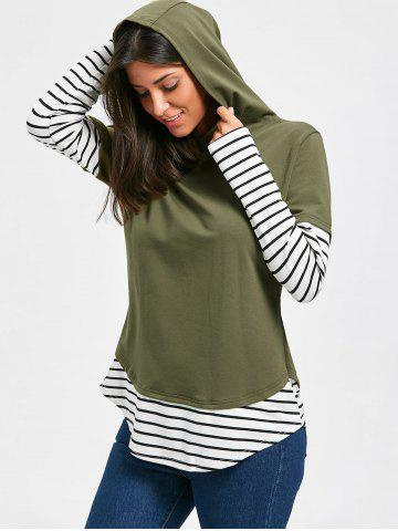 Hot Hooded Striped Long Sleeve Tunic Top