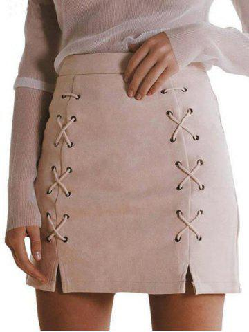 Shop Faux Suede Lace-up Skirt LIGHT APRICOT S