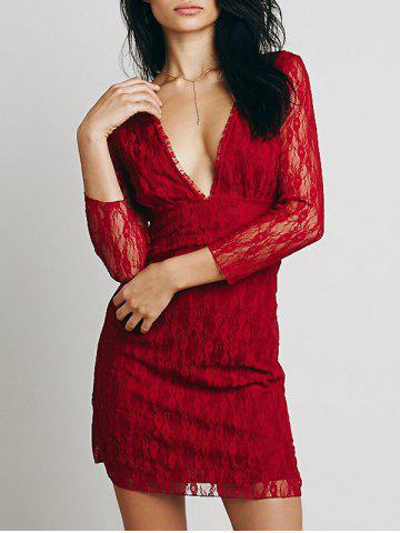 Lace Plunge Backless Fitted Dress Rouge S