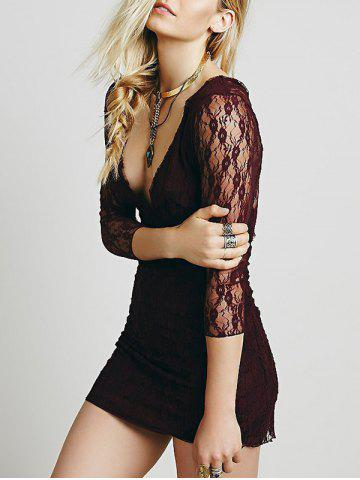 Lace Plunge Backless Fitted Dress Rouge Foncé XL