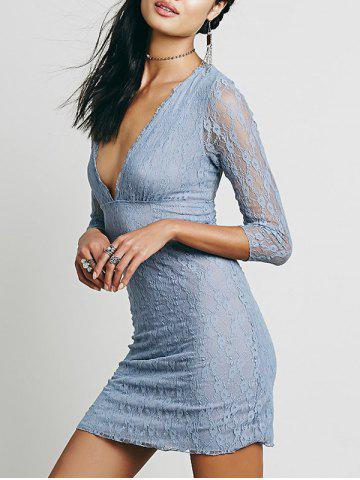 Lace Plunge Backless Fitted Dress Nuageux XL