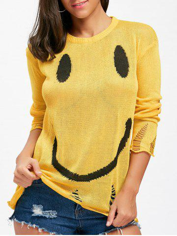 Hot Distressed Smile Face Knitwear - M YELLOW Mobile