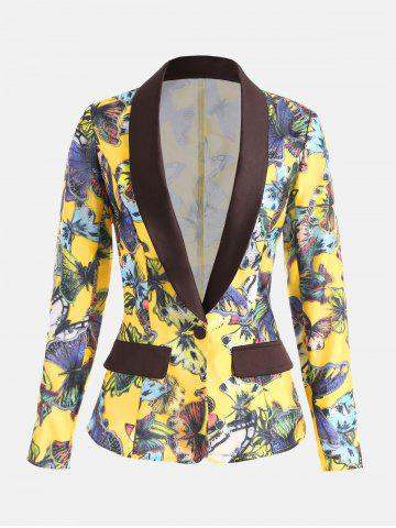 Trendy Butterfly Print Organza Panel Lapel Blazer YELLOW XL