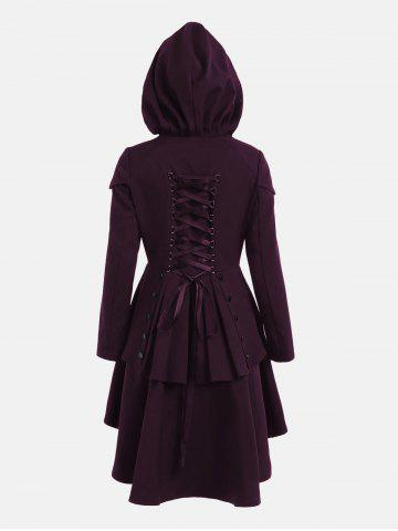 Affordable Lace Up Layered High Low Hooded Coat - DEEP PURPLE 2XL Mobile