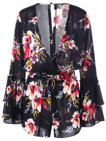 Fashion Floral Surplice Neck Flare Sleeve Romper - S FLORAL Mobile