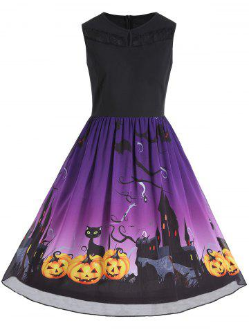 Fancy Plus Size Halloween Pumpkin Print Sleeveless Dress