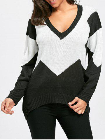 Deep V Neck Two Tone Color Sweater
