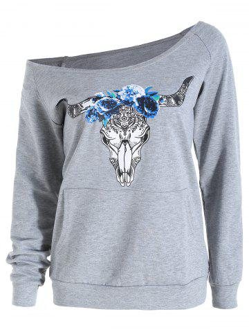Raglan Sleeve Elk Print Skew Neck Graphic Sweatshirt
