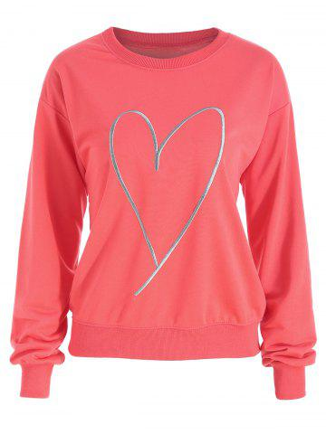 Store Plus Size Drop Shoulder Heart Print Sweatshirt
