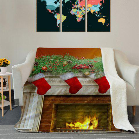 Unique Christmas Fireplace Pattern Fleece Thermal Blanket