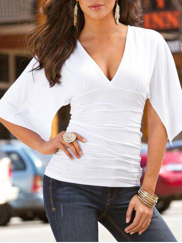 Store Plunge Ruched Split Sleeve Top