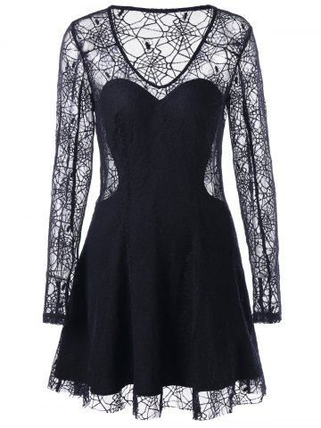 Trendy Halloween Spider Lace See Thru Dress
