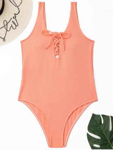 Affordable Lace-up Textured One Piece Swimsuit