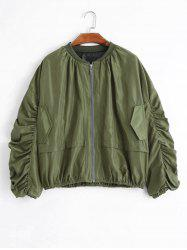 Puff Sleeve Plus Size Zip Up Jacket - ARMY GREEN 2XL