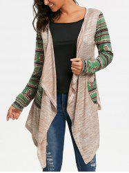 Geometric Print Long Sleeve Draped Cardigan - OFF-WHITE S