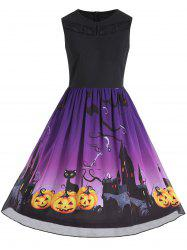 Plus Size Halloween Pumpkin Print Sleeveless Dress - Purple - 4xl