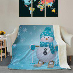 Christmas Snowman Pattern Soft Fleece Thermal Blanket -
