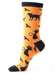 Halloween Calf Socks with Cats Bats Pattern -