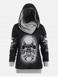 Halloween Skull and Wings Print Hoodie - GRAY XL