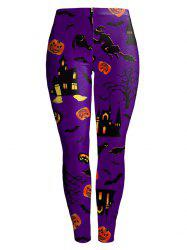 Witch Pumpkin Castle Halloween Leggings - Pourpre XL