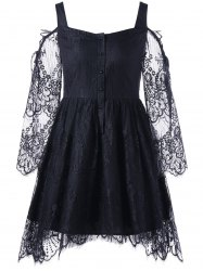 Halloween Eyelash Lace Cold Shoulder Dress -