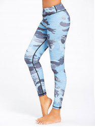 Sports Camo Printed Ankle Leggings - NAVY BLUE S