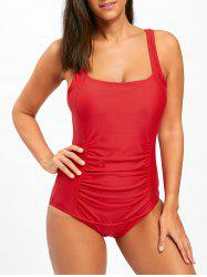 Square Neck One Piece Ruched Swimsuit - RED L