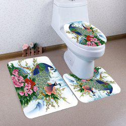 Flowers Peacock Pattern Nonslip 3Pcs Bathroom Mats Set - COLORFUL