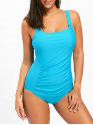 Square Neck One Piece Ruched Swimsuit - BLUE L