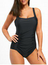 Square Neck One Piece Ruched Swimsuit - BLACK XL