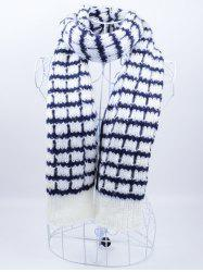 Outdoor Checked Pattern Knitting Scarf -
