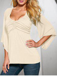 Plunge Ruched Flare Sleeve Tee -
