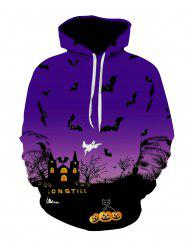 Halloween Night Scene Print Plus Size Hoodie -