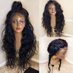 Long Free Part Fluffy Natural Wavy Lace Front Synthetic Wig - BLACK