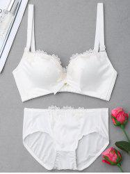 Push Up Plunge Bra Set with Lace - WHITE 85C