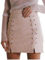 Faux Suede Lace-up Skirt - LIGHT APRICOT S