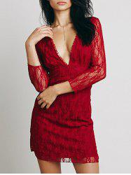 Lace Plunge Backless Fitted Dress - Rouge S