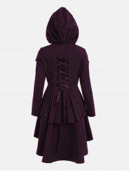 Lace Up Layered High Low Hooded Coat - Deep Purple - 2xl