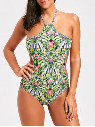 Maillot de bain imprimé tropical One Piece Halter -