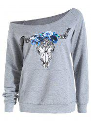 Raglan Sleeve Elk Print Skew Neck Graphic Sweatshirt -
