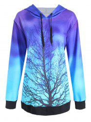Plus Size Colorful Tree Galaxy Printed Hoodie -